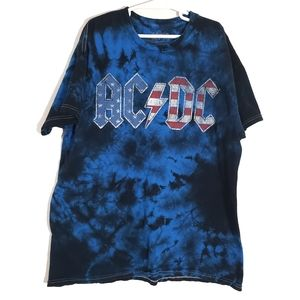 AC/DC tie-dyed red white and spell out tee unisex